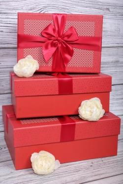 Набор подарочные коробок из 3 шт - Прямоугольник Модный узор красный  27*20*11см    N682