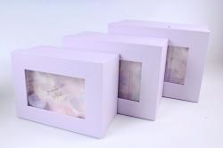 Набор подарочные коробок из 3 шт - Прямоугольник Перышки светло сиреневые   S0614