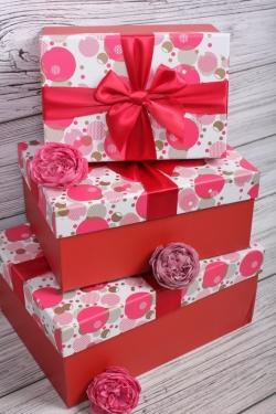 Набор подарочные коробок из 3 шт - Прямоугольник Пузыри  29*21*13см    N687