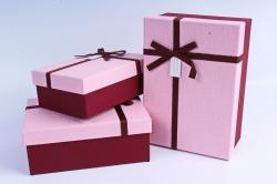Набор подарочные коробок из 3 шт - Прямоугольник розовая крышка