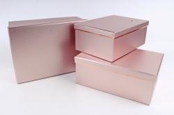 Набор подарочные коробок из 3 шт - Прямоугольник с кантом лиловый  D28