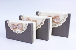 Набор подарочные коробок из 3 шт - Прямоугольник Салфетка кружево серыйАрт.305