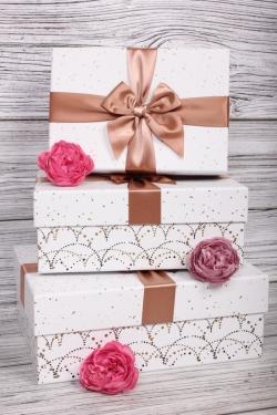 Набор подарочные коробок из 3 шт - Прямоугольник Салют белый  27*20*11см    N683