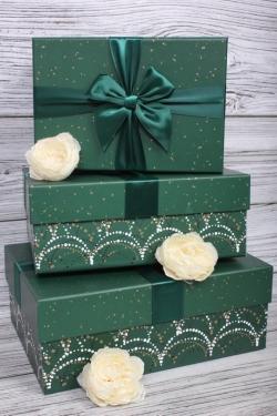 Набор подарочные коробок из 3 шт - Прямоугольник Салют изумруд  27*20*11см    N684