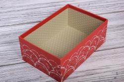 Набор подарочные коробок из 3 шт - Прямоугольник Салют красный  27*20*11см    N681
