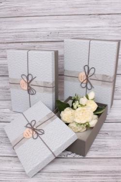 Набор подарочные коробок из 3 шт - Прямоугольник серый 28*20*9см  В100