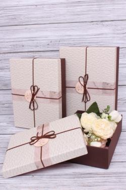 Набор подарочные коробок из 3 шт - Прямоугольник шоколад 28*20*9см  В100