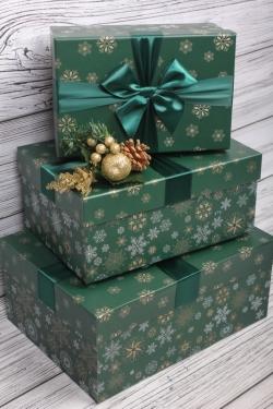 Набор подарочные коробок из 3 шт - Прямоугольник Снежинки микс изумруд 29*21*13см    N686
