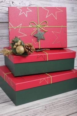 Набор подарочные коробок из 3 шт - Прямоугольник Звезды красная крышка 28*20*9см   К450