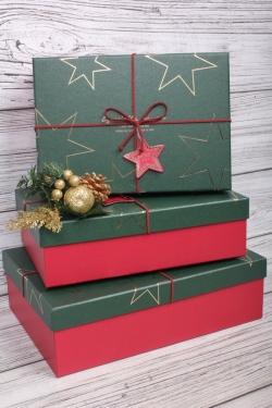 Набор подарочные коробок из 3 шт - Прямоугольник Звезды зеленая крышка 28*20*9см   К450