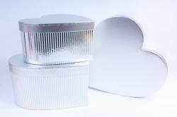 Набор подарочные коробок из 3 шт - Сердце полоска металл серебро