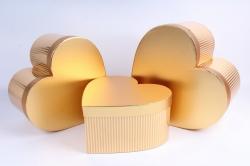 Набор подарочные коробок из 3 шт - Сердце полоска металл золото