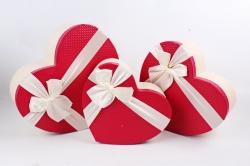 Набор подарочные коробок из 3 шт - Сердце тисненое красная крышка   К691