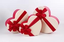 Набор подарочные коробок из 3 шт - Сердце тисненое шампань крышка  К691