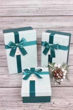 Набор подарочные коробок из 3 шт -  Прямоугольник ветки изумрудные 22*15*9см В291