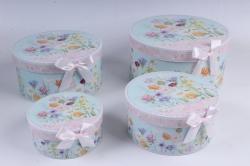 Набор подарочные коробок из 4шт - КРУГ Цветы полевые  d=22см /h=11см  D760