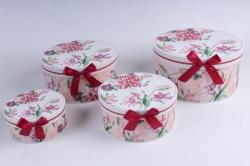 Набор подарочные коробок из 4шт - КРУГ Цветы с божьей коровкой  d=22см /h=11см  D760