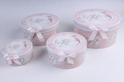 Набор подарочные коробок из 4шт - КРУГ Цветы с птицей  d=22см /h=11см  D760
