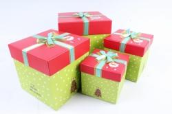 Набор подарочные коробок из 4шт - КУБ Новый Год Дед Мороз на красном  К41