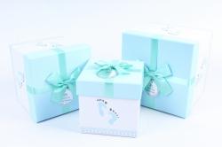 Набор подарочные коробок из 3шт - КУБ следы ног на голубом  К72