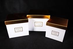 Набор подарочные коробок из 3шт - Куб золотая крышка белый 23*23*19см К213