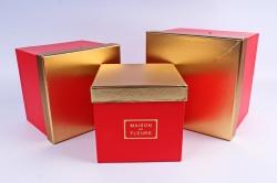 Набор подарочные коробок из 3шт - Куб золотая крышка красный  К213