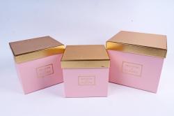 Набор подарочные коробок из 3шт - Куб золотая крышка розовый  К213