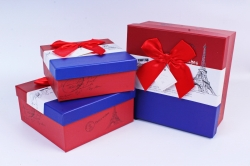 Набор подарочные коробок из 3шт - Квадрат полоска красно/бело/синий  М68