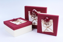 Набор подарочные коробок из 3шт - Квадрат с гербарием бордовый  К509