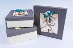 Набор подарочные коробок из 3шт - Квадрат с гербарием серый  К509