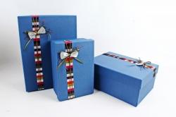 Набор подарочные коробок из 3шт - Прямоугольник бант полоска белый  К435