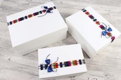 Набор подарочные коробок из 3шт - Прямоугольник бант полоска синий    К435