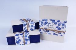 """Набор подарочные коробок из 3шт - Прямоугольник книга """"Круги"""" синий  К505"""