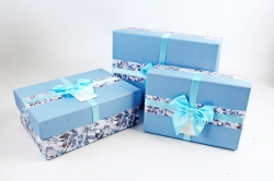 Набор подарочные коробок из 3шт - Прямоугольник крышка голубая   К510