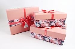 Набор подарочные коробок из 3шт - Прямоугольник крышка лосось  К510