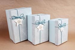 Набор подарочные коробок из 3шт - Прямоугольник Мрамор голубой   В821