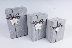 Набор подарочные коробок из 3шт - Прямоугольник Мрамор серый В821