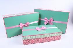 Набор подарочные коробок из 3шт - Прямоугольник мятная крышка