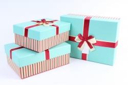 Набор подарочные коробок из 3шт - Прямоугольник Полоска бирюзовая крышка