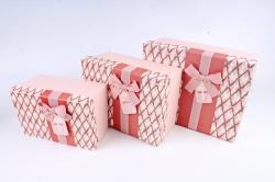 Набор подарочные коробок из 3шт - Прямоугольник ромбы розовый  К725