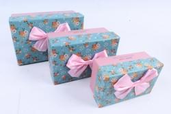 Набор подарочные коробок из 3шт - Прямоугольник розовый крышка голубая с цветочками