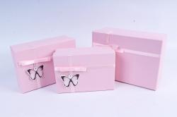 Набор подарочные коробок из 3шт - Прямоугольник с бабочкой розовый   К510