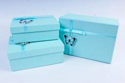 Набор подарочные коробок из 3шт - Прямоугольник с бабочкой тиффани   К510