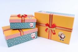 Набор подарочные коробок из 3шт - Прямоугольник Санта с колокольчиком оранжевая крышка