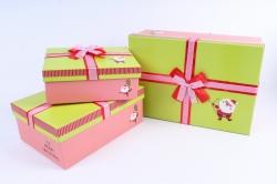 Набор подарочные коробок из 3шт - Прямоугольник Санта с луком салатовая крышка
