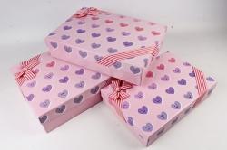 Набор подарочные коробок из 3шт - Прямоугольник Сердца Смайлы розовый 45*31*11  К520