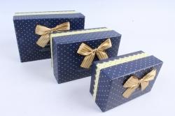 Набор подарочные коробок из 3шт - Прямоугольник Сердечки мелкие на синем