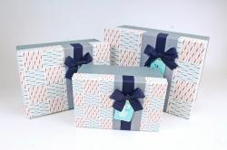 Набор подарочные коробок из 3шт - Прямоугольник штрихи серые  К725