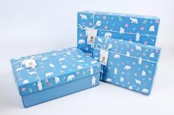 Набор подарочные коробок из 3шт - Прямоугольник  Белые медведи на голубом   К516К516