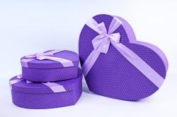 Набор подарочные коробок из 3шт - Сердце плетеное фиолетовое  М61